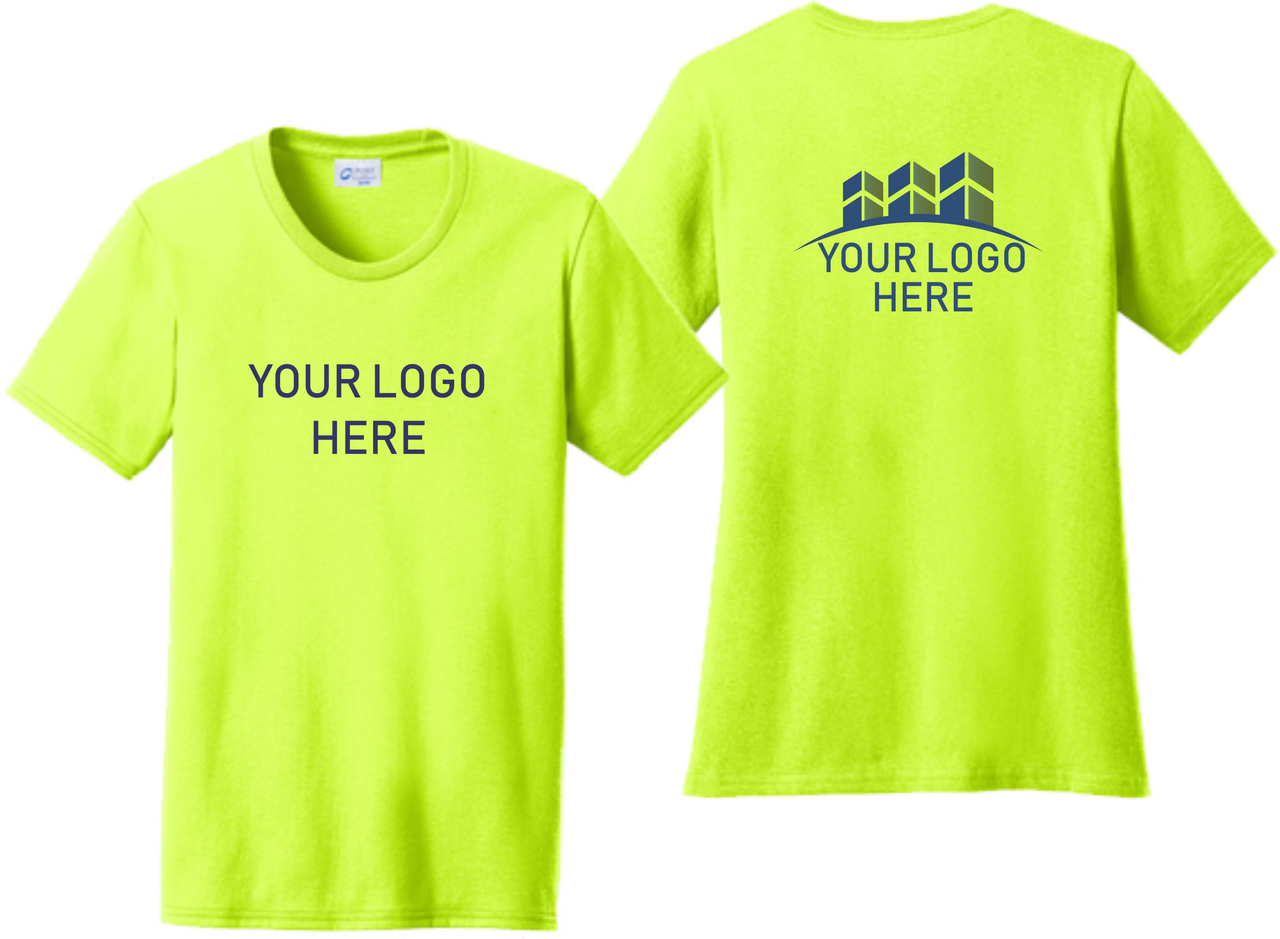 Ladies Safety Green Short Sleeve T Shirt Front and Back Custom Screen Printed Logo