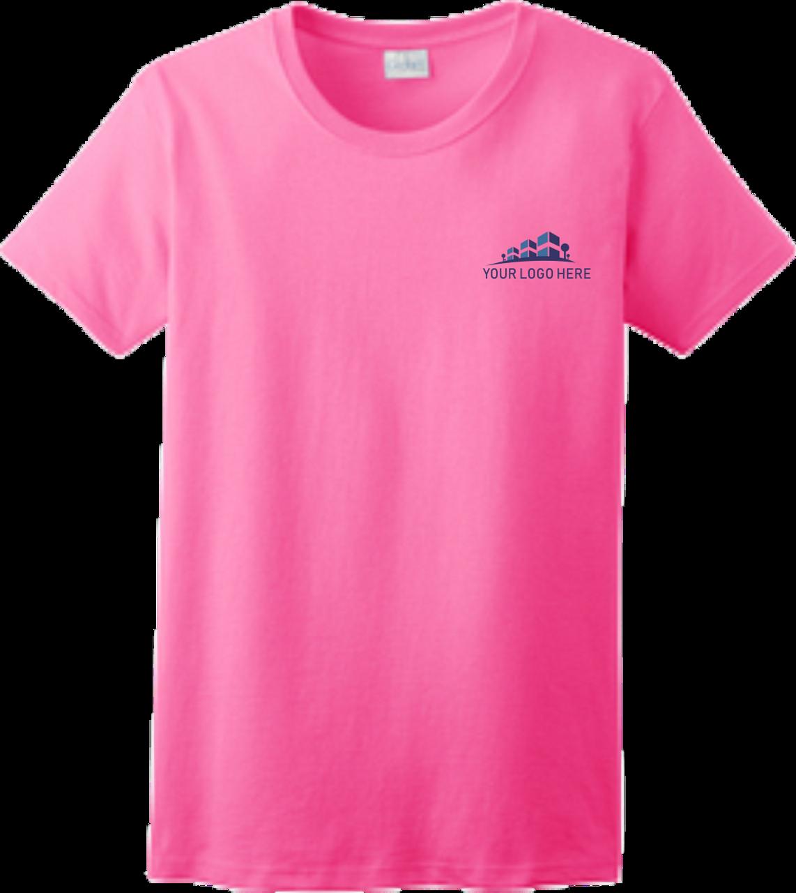 Ladies Safety Green Short Sleeve T Shirt Front Custom Printed Logo