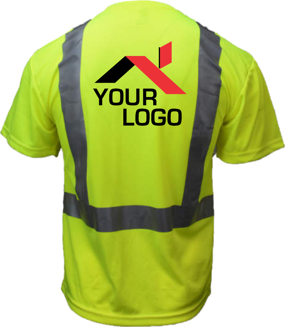 Safety Green Shirts with logo   High Visibility T Shirt with Logo  