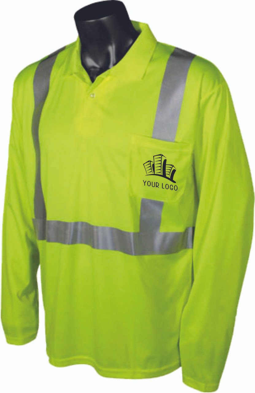 Safety Green Class 2 Polo with custom front logo