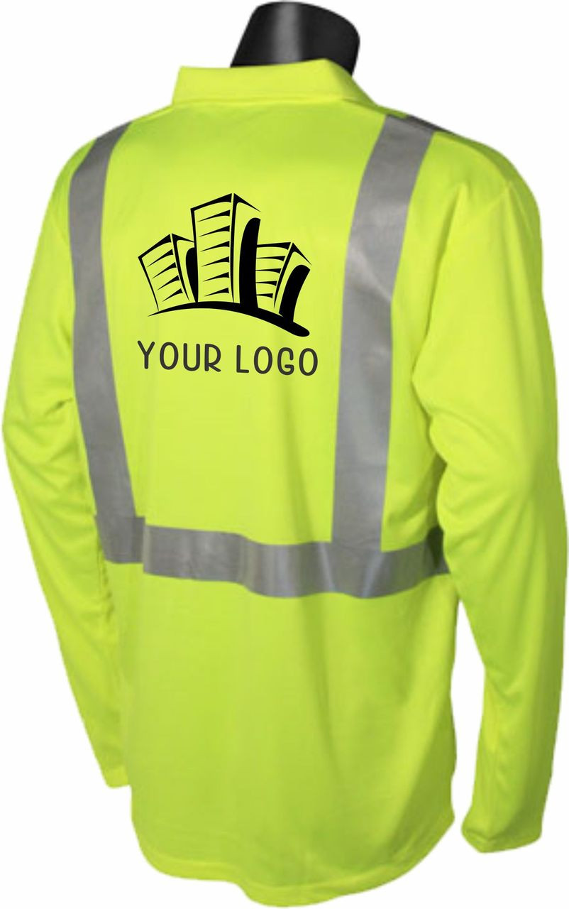 hi vis safety green polo with custom printed back