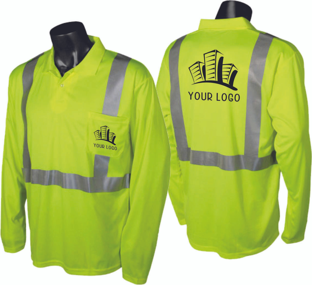 construction polo safety green with custom imprint