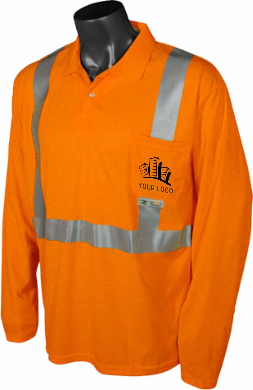 Safety Orange Class 2 Polo with custom front logo