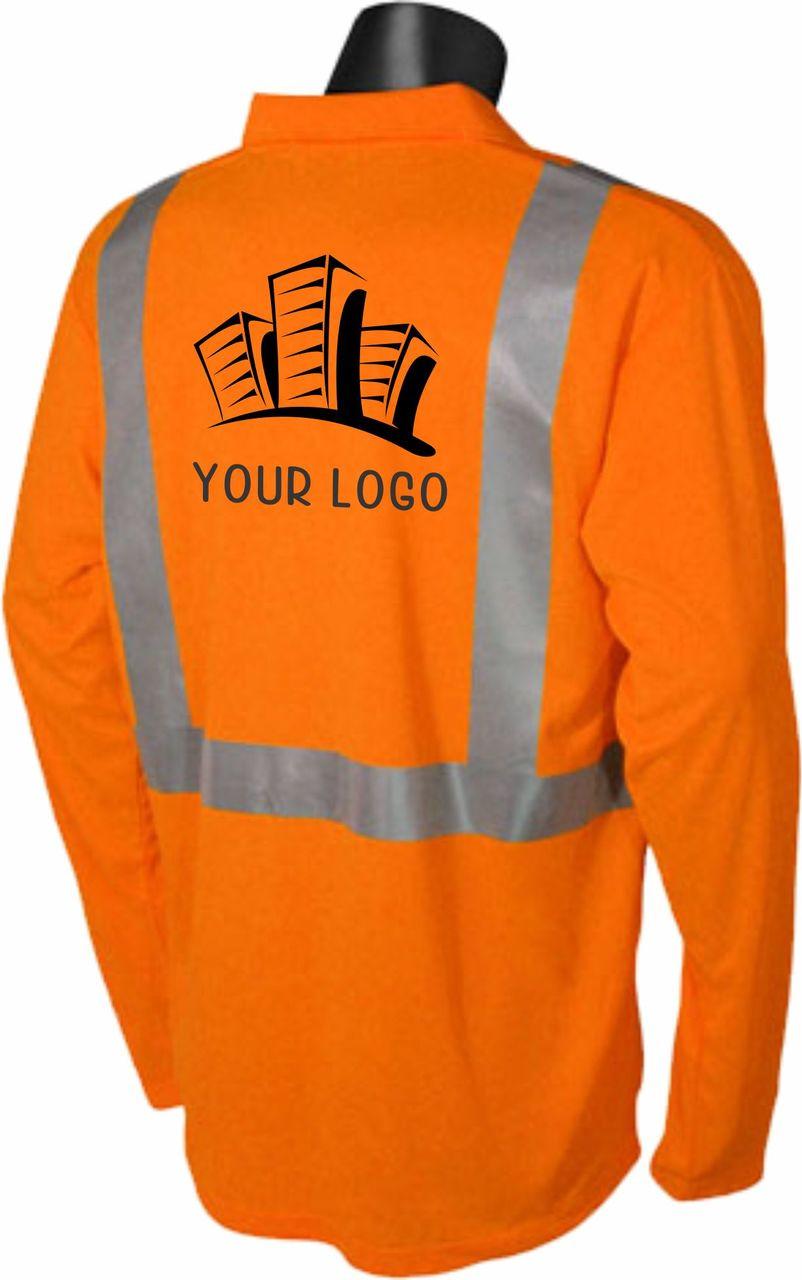 hi vis safety orange polo with custom printed back