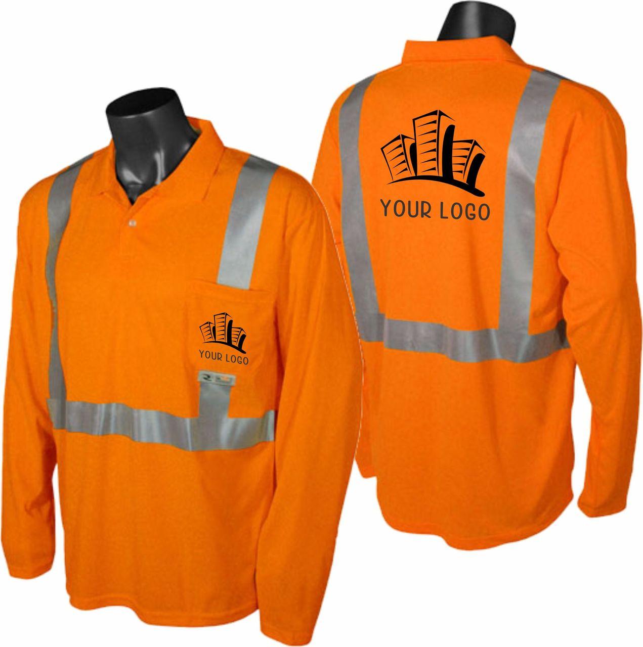 construction polo safety orange with custom imprint