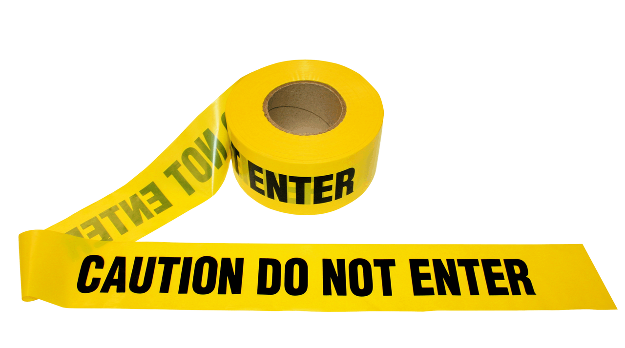 Yellow CAUTION DO NOT ENTER Barricade Tape 2.0 Mil (12 pk)