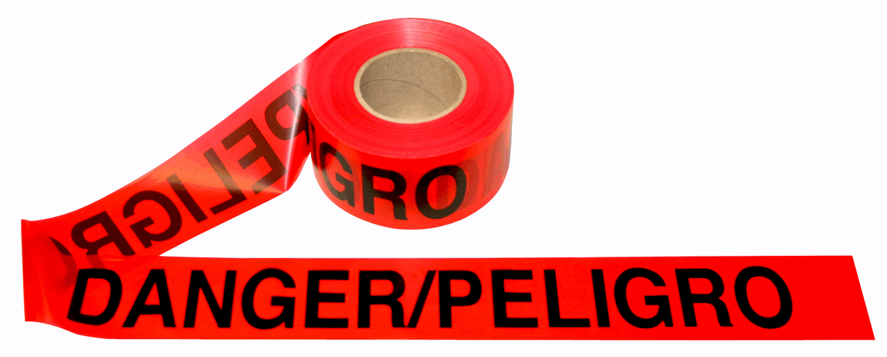 Red Bilingual DANGER / PELIGRO Barricade Tape 2.0 Mil (12 pk)
