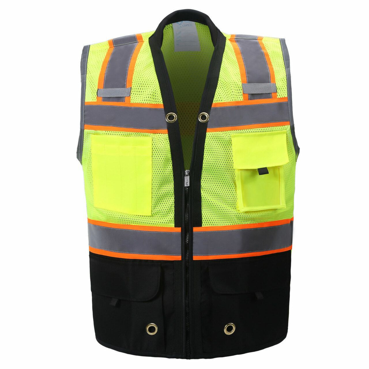 Two Tone Class 2 Premium Surveyors Safety Vest with Black Solid Bottom