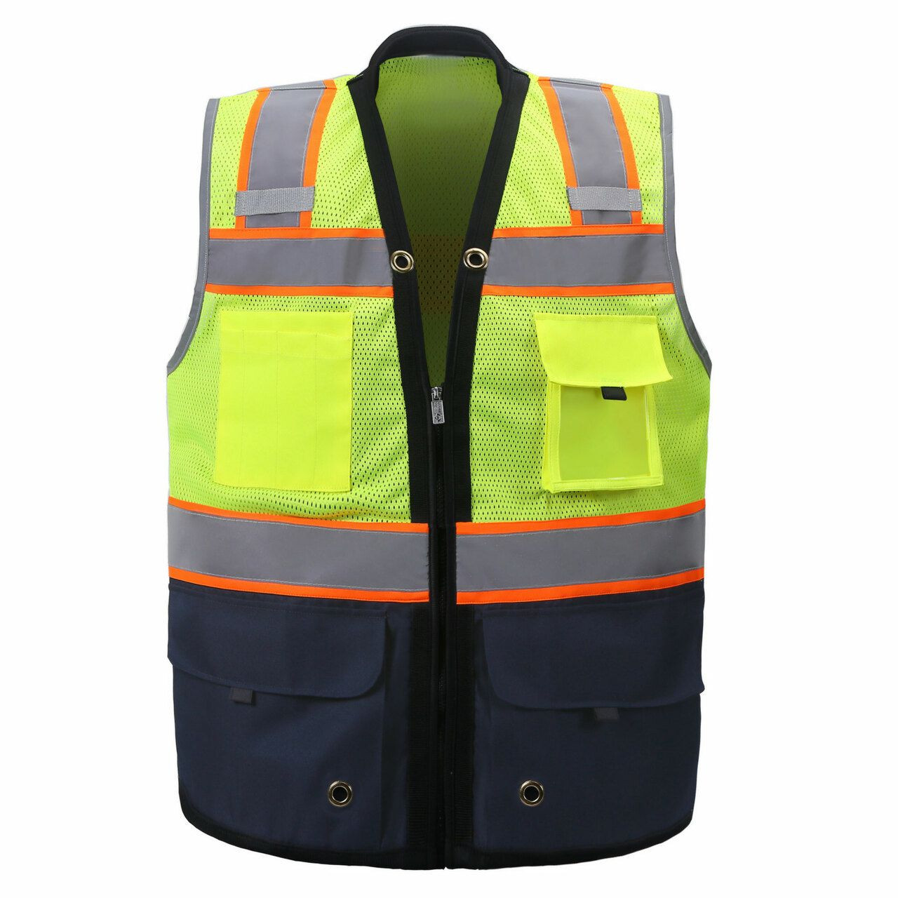 Two Tone Class 2 Premium Surveyors Safety Vest with Navy Solid Bottom