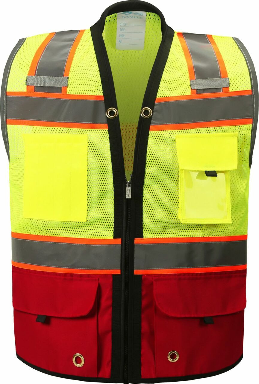 Two Tone Class 2 Premium Surveyors Safety Vest with Red Solid Bottom