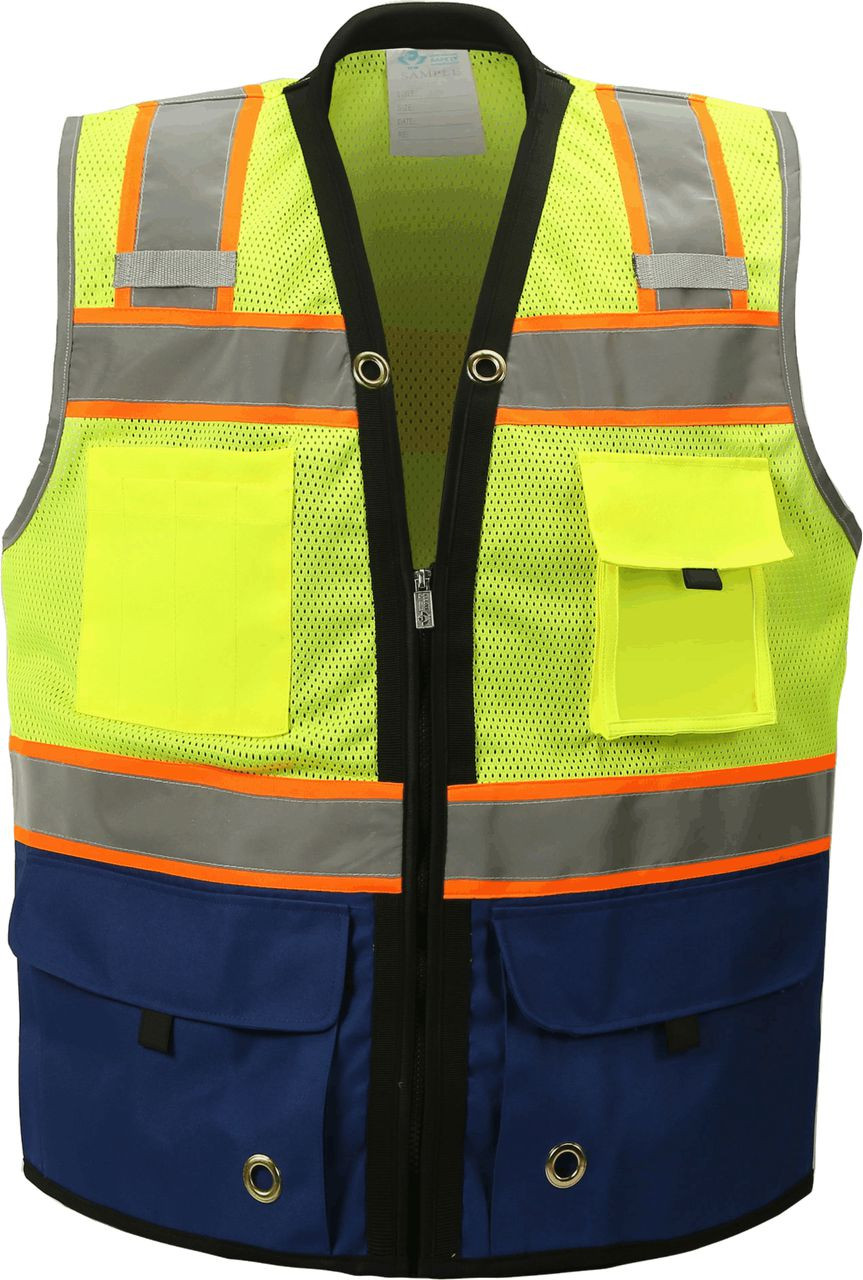 Two Tone Class 2 Premium Surveyors Safety Vest with Royal Solid Bottom
