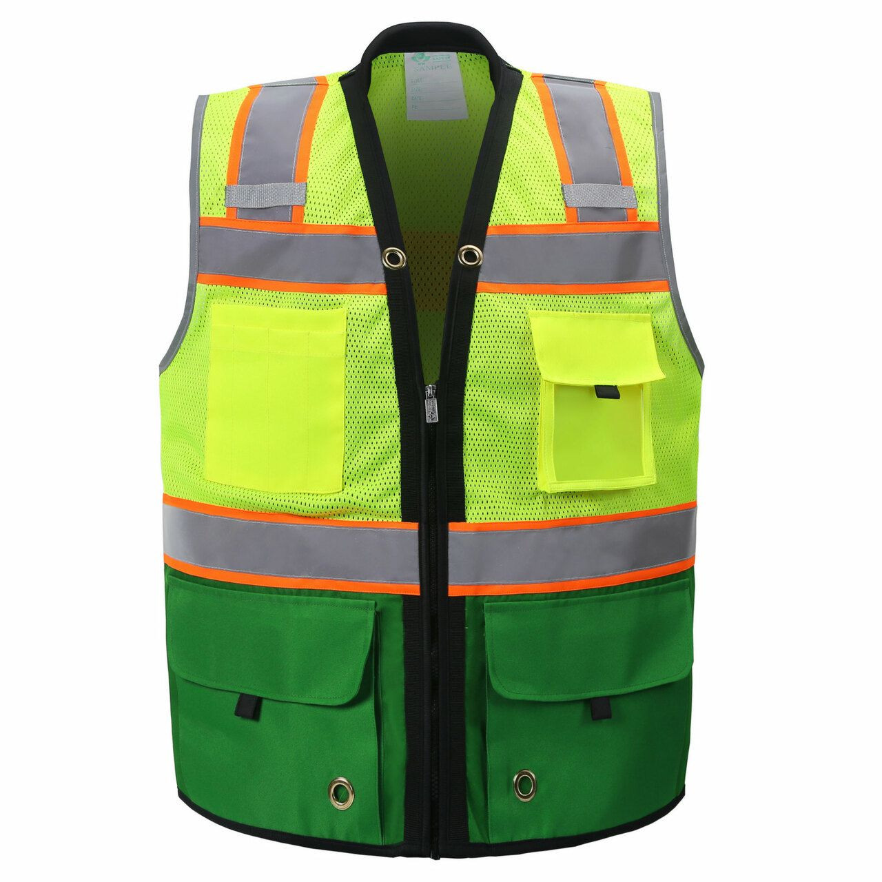 Two Tone Class 2 Premium Surveyors Safety Vest with Green Solid Bottom