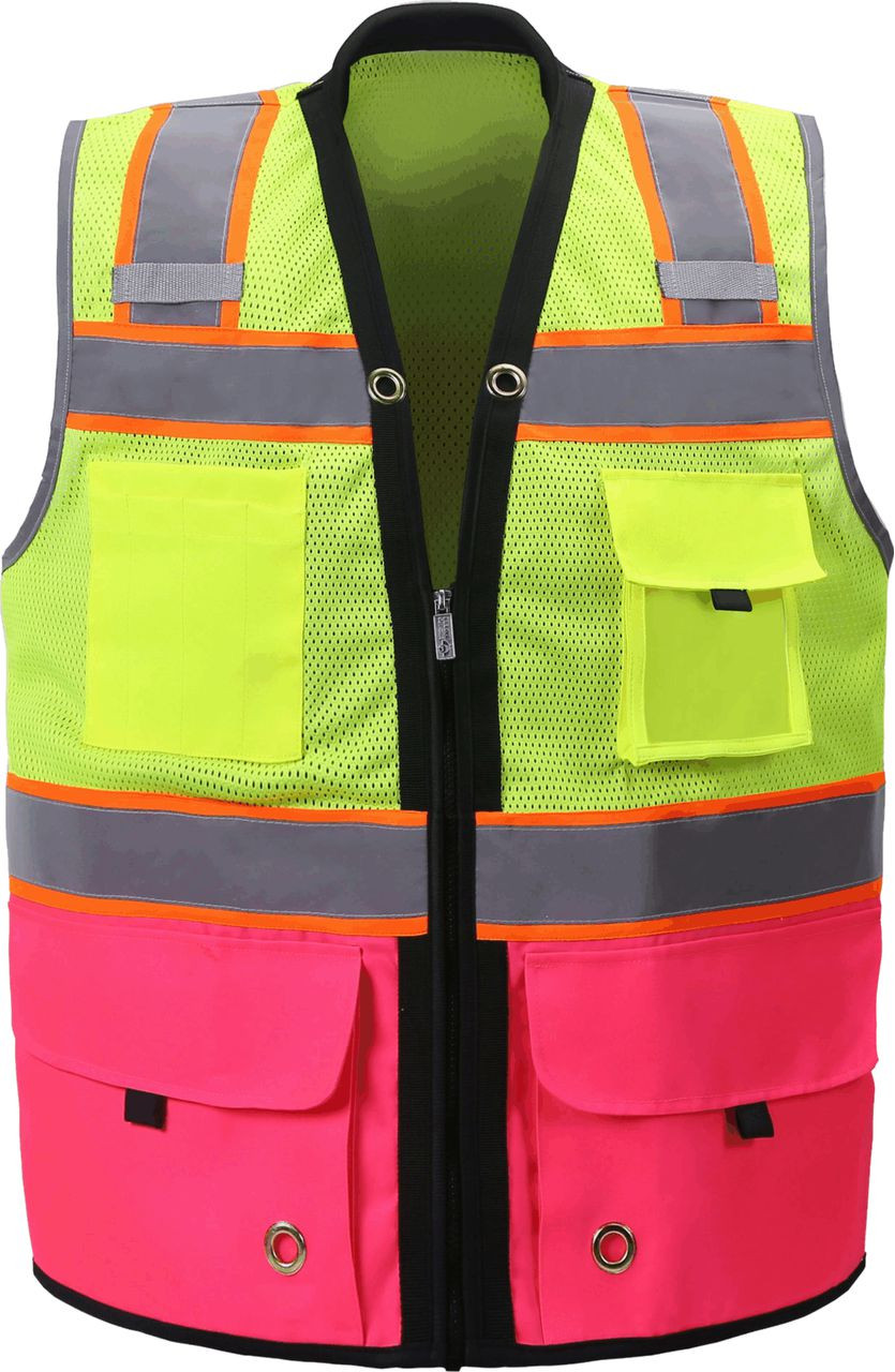 Two Tone Class 2 Premium Surveyors Safety Vest with Pink Solid Bottom
