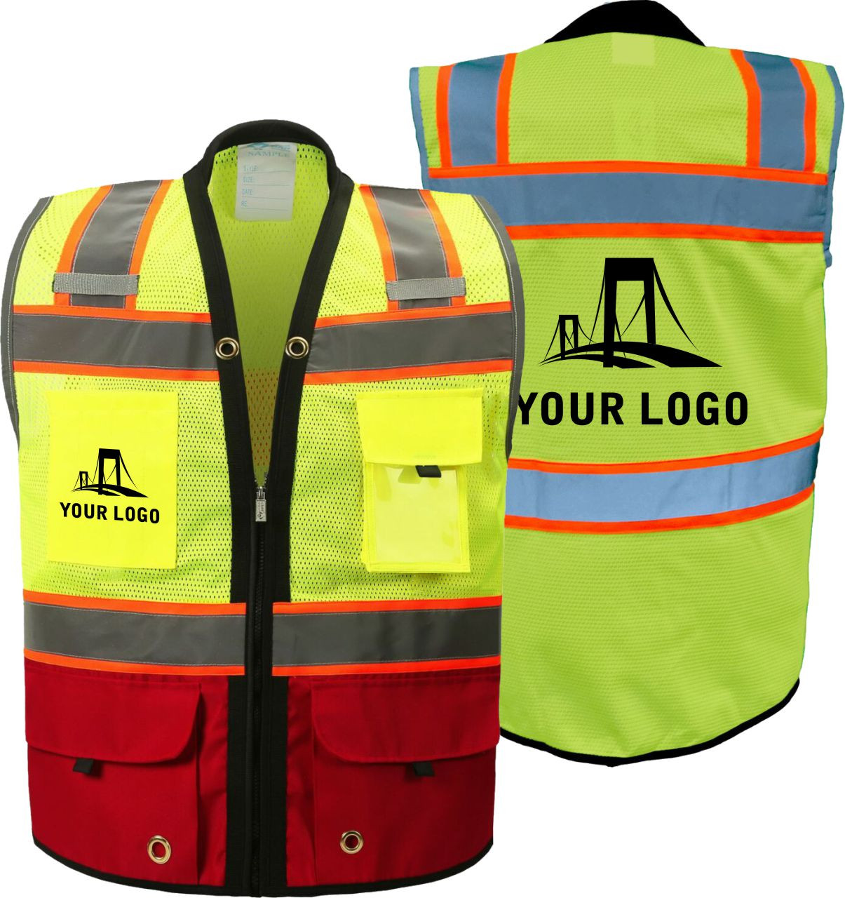 Custom Printed Two Tone Class 2 Premium Surveyors Safety Vest with Red Solid Bottom | Safety Vest woth Logo