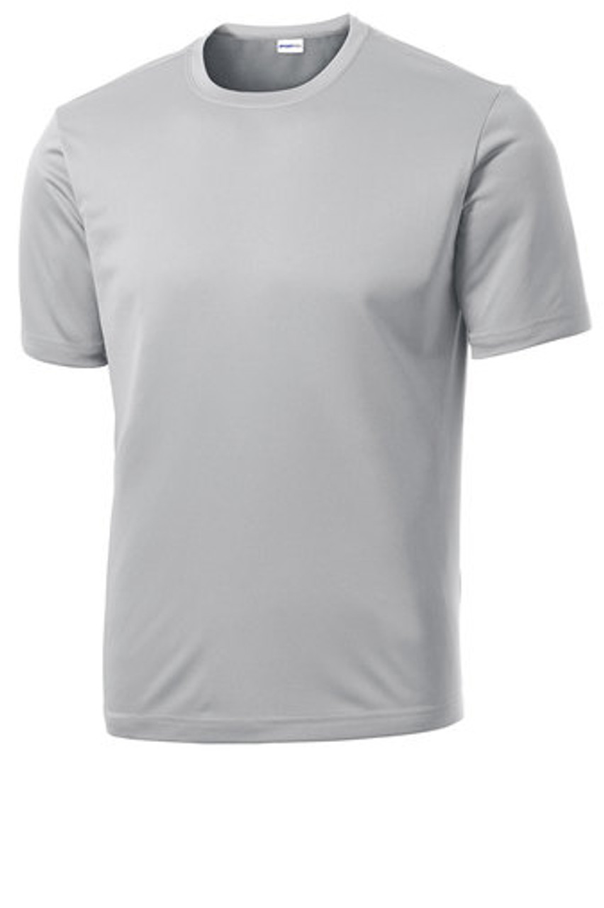 Silver T Shirt 100% Poly Moisture Wicking