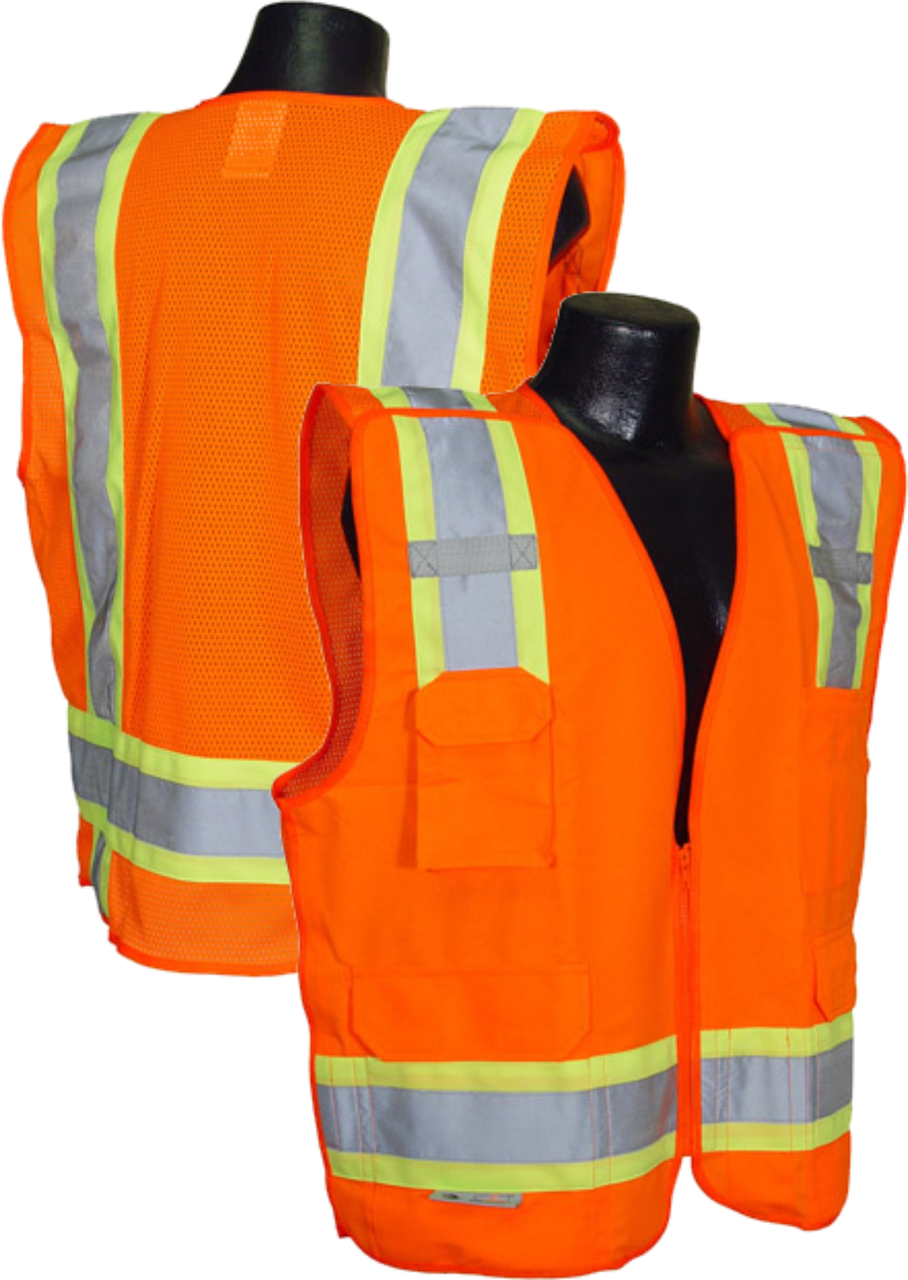 5 point breakaway Safety Orange Safety vest Class 2 with Zip n Rip.  Solid Front / Mesh back
