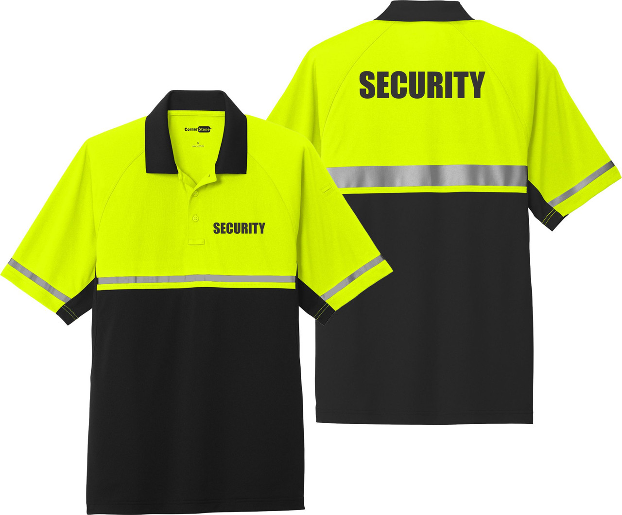 Security Polo - Two Tone Safety Yellow  Black with Enhanced Visibility