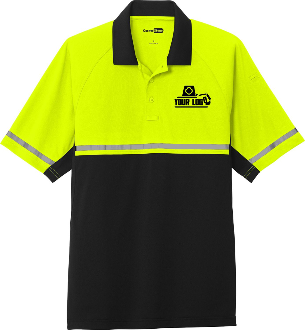 Custom Screen Printed or Embroidered Logo on Safety Polo Front Left Chest