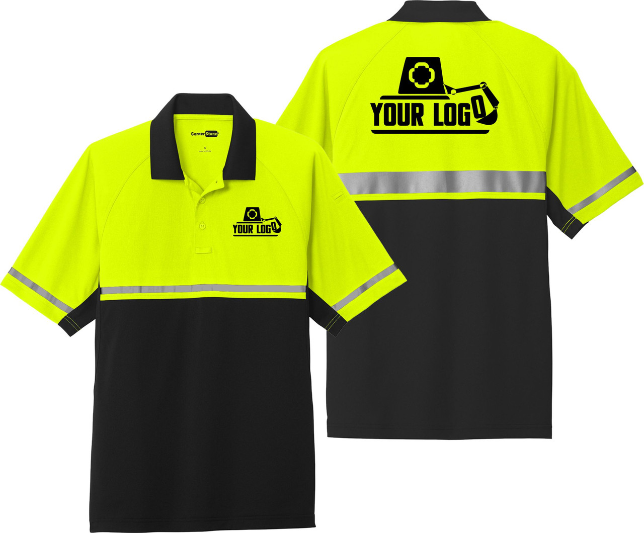 Safety polo with reflective striping custom printed logo front and back.  Ask us about Embroidery and Screen Printing.
