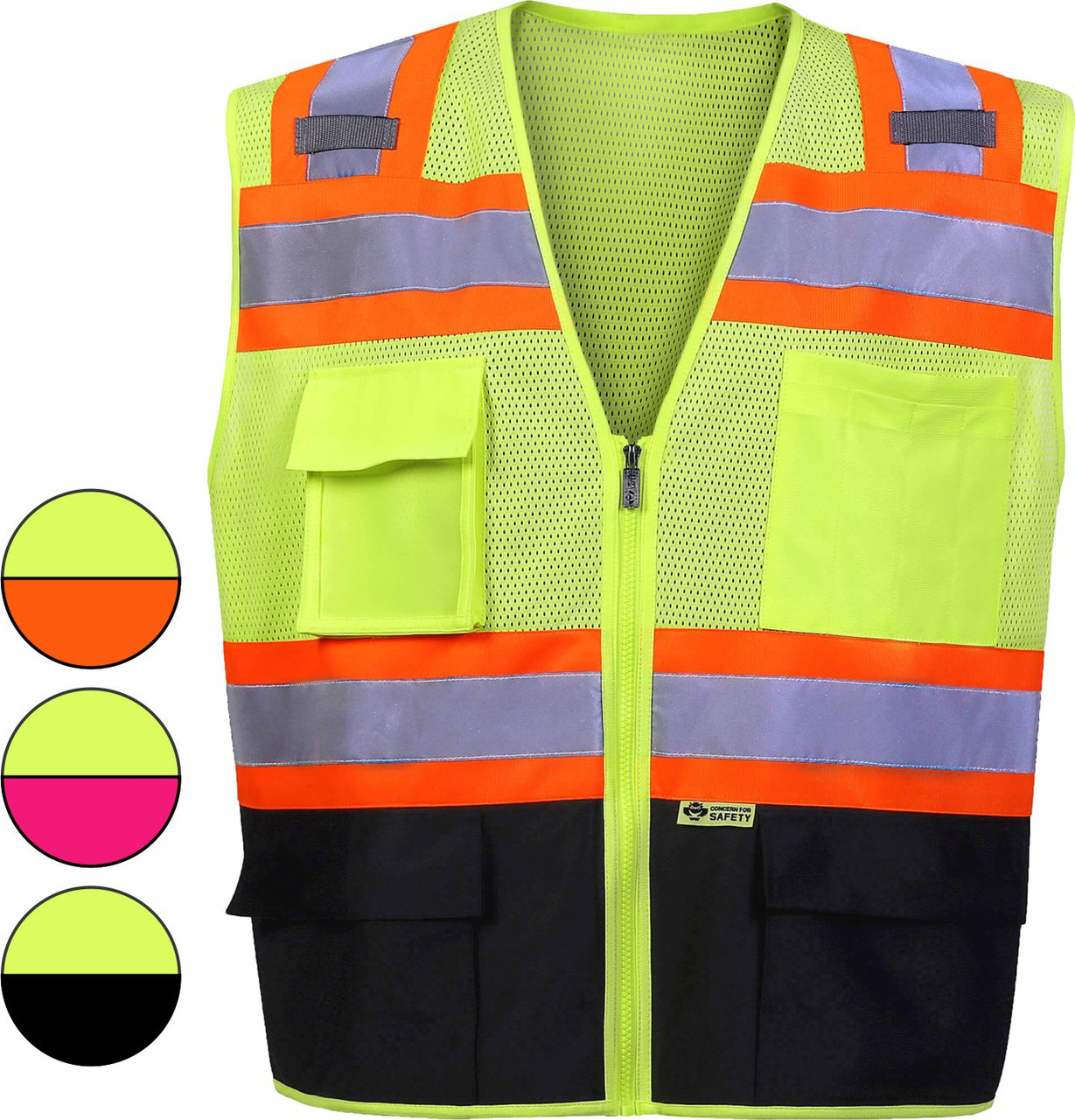 Safety Vest | Black Bottom Safety Vest with contrast color Class 2 | Class Two Safety Vest