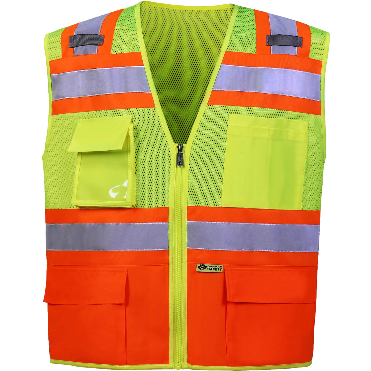 Safety Vest | Orange Bottom Safety Vest with contrast color Class 2 | Class Two Safety Vest | Hi Vis Vest Class 2 | Safety Jacket with contrast Color | Safety Vest with Pockets