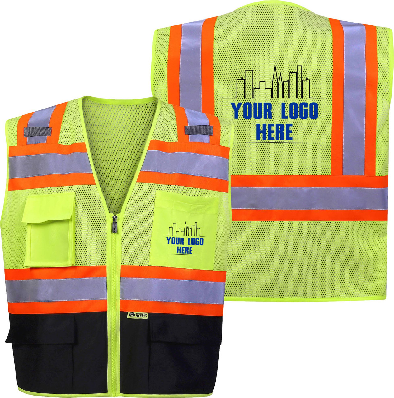 Custom Logo Safety Vest - This Class 2 Safety Vest is available with Custom Printed Logo.  If you are looking for custom printed safety vests this is the perfect option.