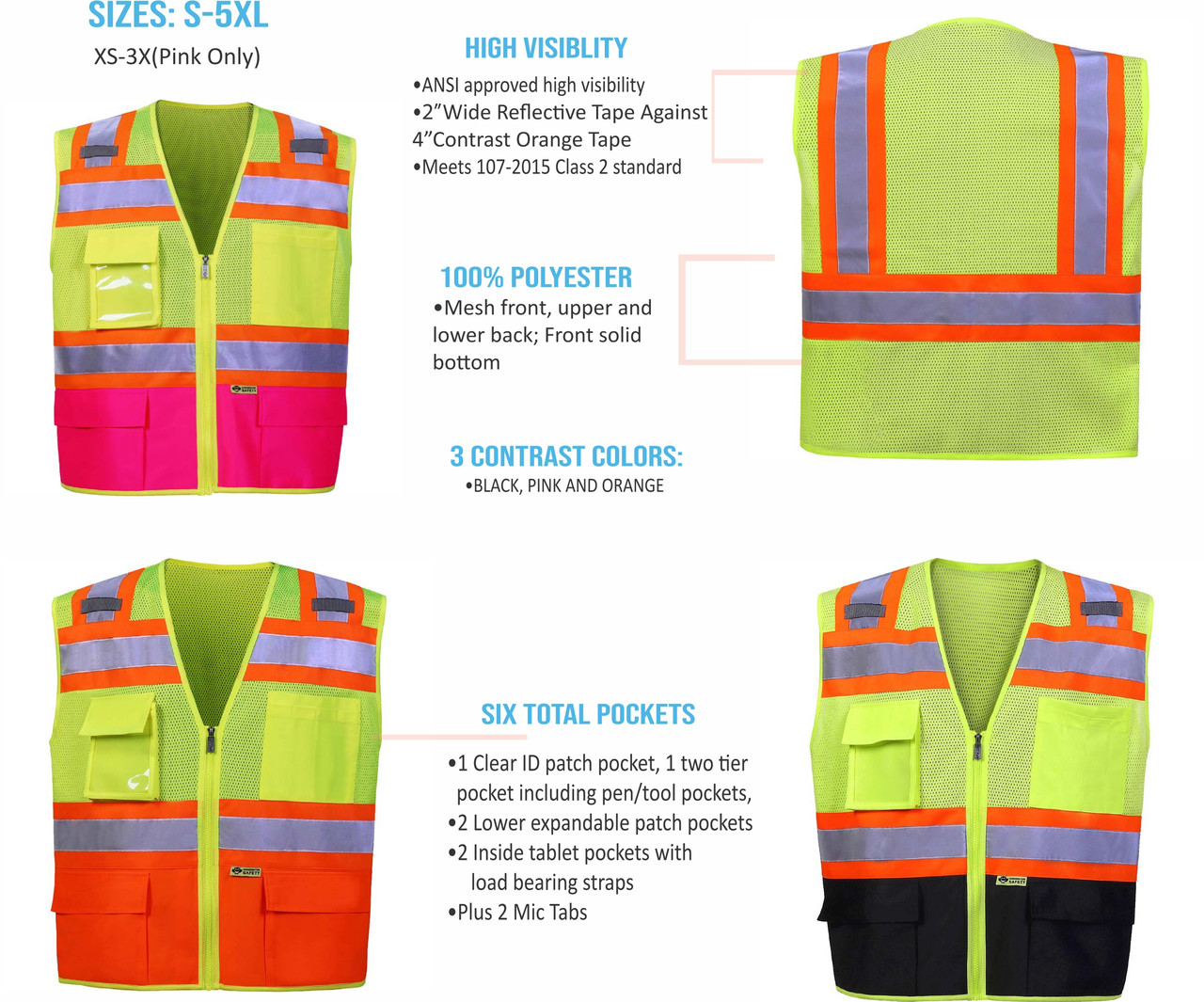"""2W 570 ANSI Approved High Visibility Class 2 Safety Vest is available in multiple colors and features 2"""" wide Reflective stripes, Contrast Orange Tape, Meets 107-2015 Class 2 Standard, Mesh Front and solid bottom.  Has 6 pockets and 2 mic tabs."""