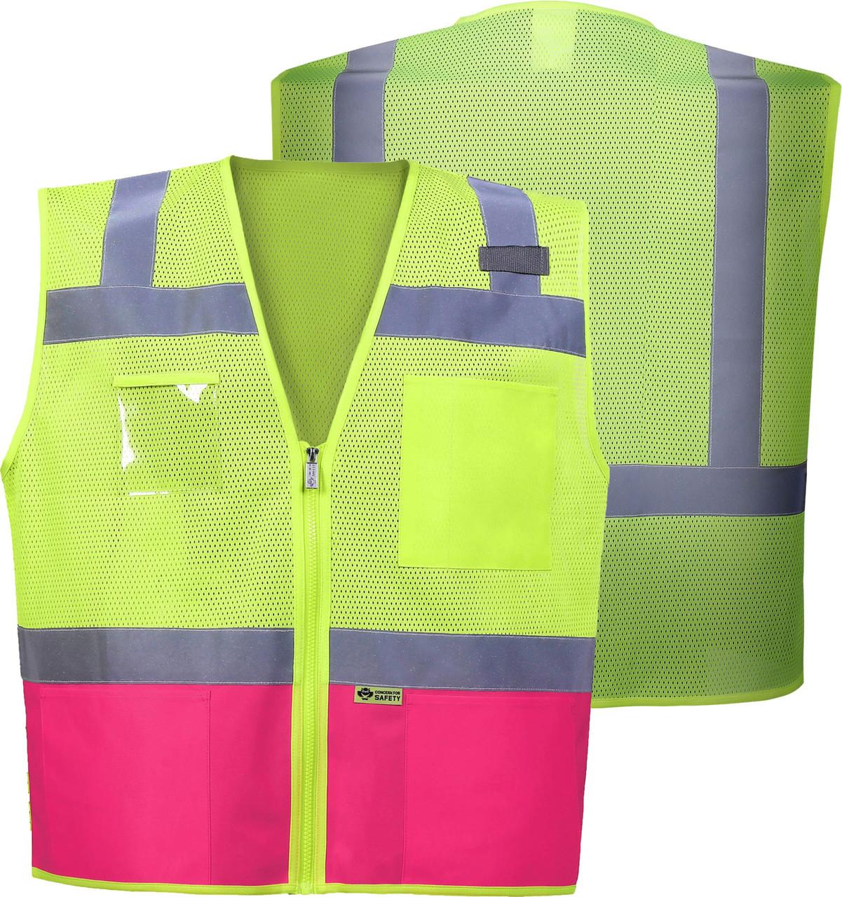 Pink Safety Vest Class 2 | ANSI Class 2 Pink Bottom 2 Tone Contrast Safety Vest | Women's Safety Vest