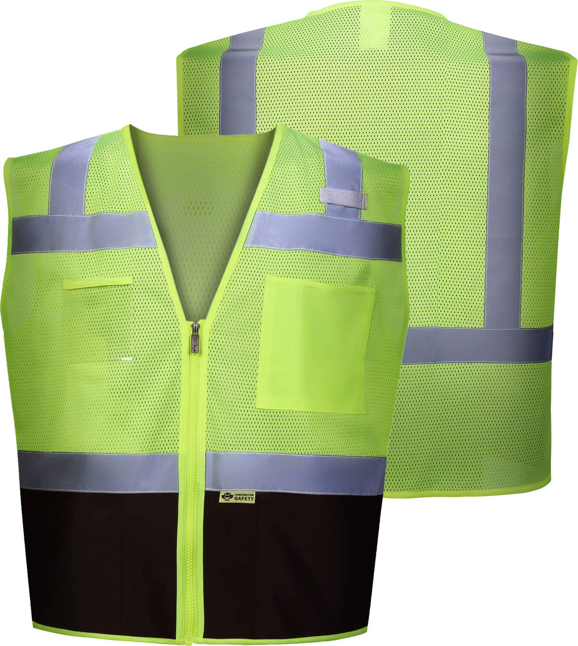 Black Bottom Class 2 Safety Vest | ANSI Class 2 Two tone Safety Vest | Black Zipper front Safety Vest | Lime/Black Reflective Vest