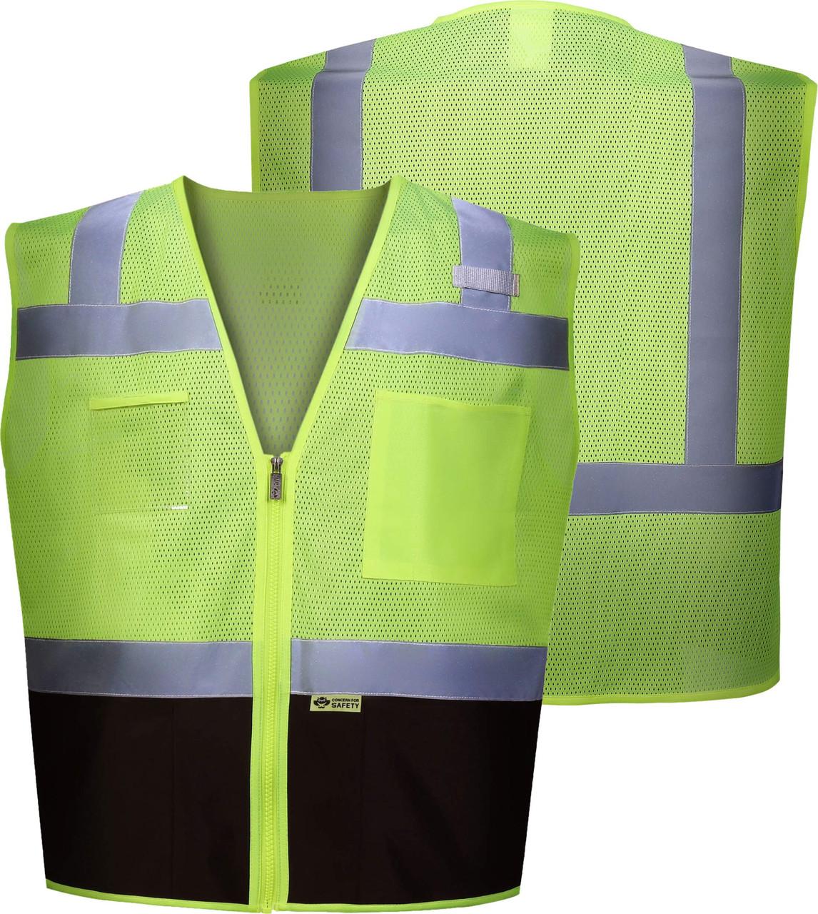 Black Bottom Class 2 Safety Vest | ANSI Class 2 Two tone Safety Vest | Black Zipper front Safety Vest | Lime/Black Reflective Vest