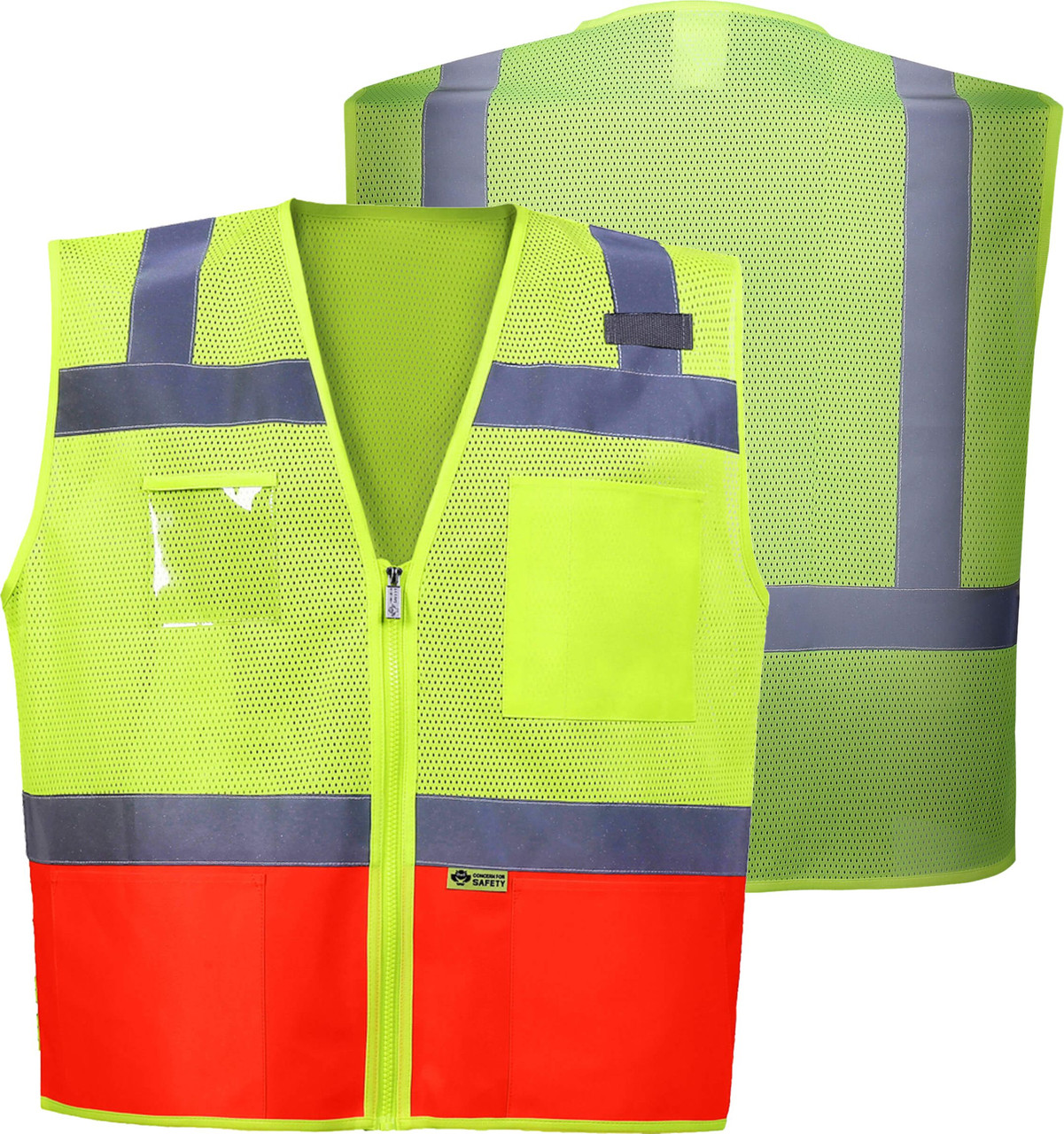 Orange Bottom Class 2 Safety Vest | ANSI Class 2 Two Tone Contrast Safety Vest | Safety Green and Safety Orange Zipper front Safety Vest | Lime/Orange Reflective Vest