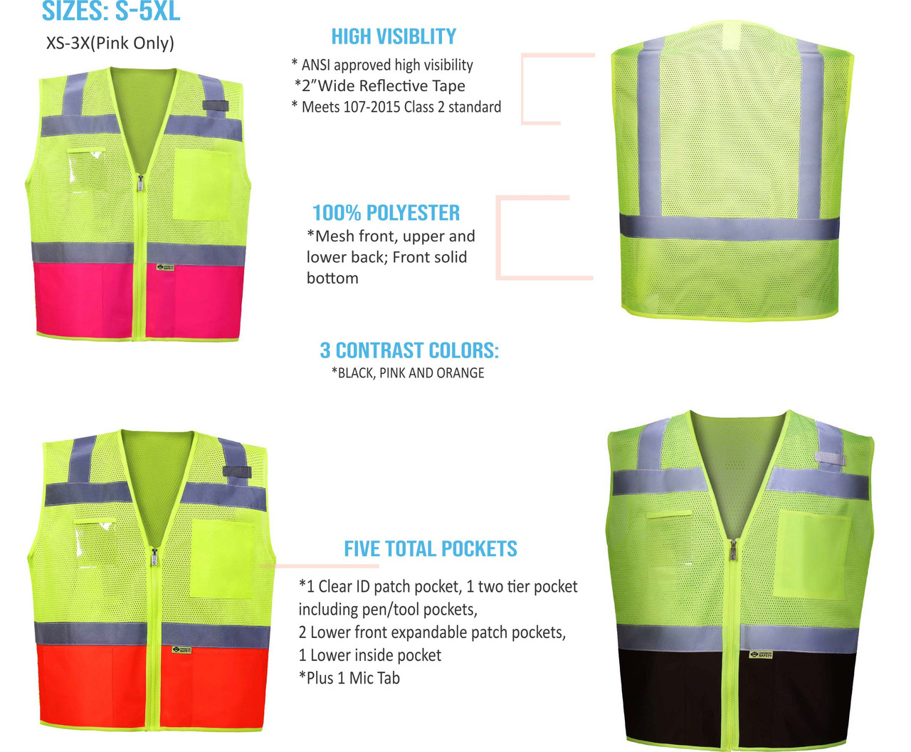 High Visibility 2 Tone Contrast Safety Vest | Class 2 Safety Vest with Clear ID Pocket | Zipper front Class 2 ANSI Surveyors Safety Vest