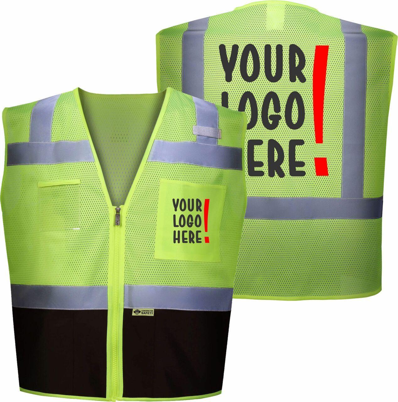 Custom Logo Safety Vest.  Contact Safety Imprints for Custom printed safety vests.