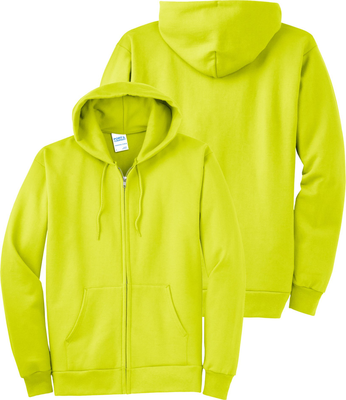 Safety Green Hooded Sweatshirt.  Ask about custom printing on our Hi Vis Hoodies.