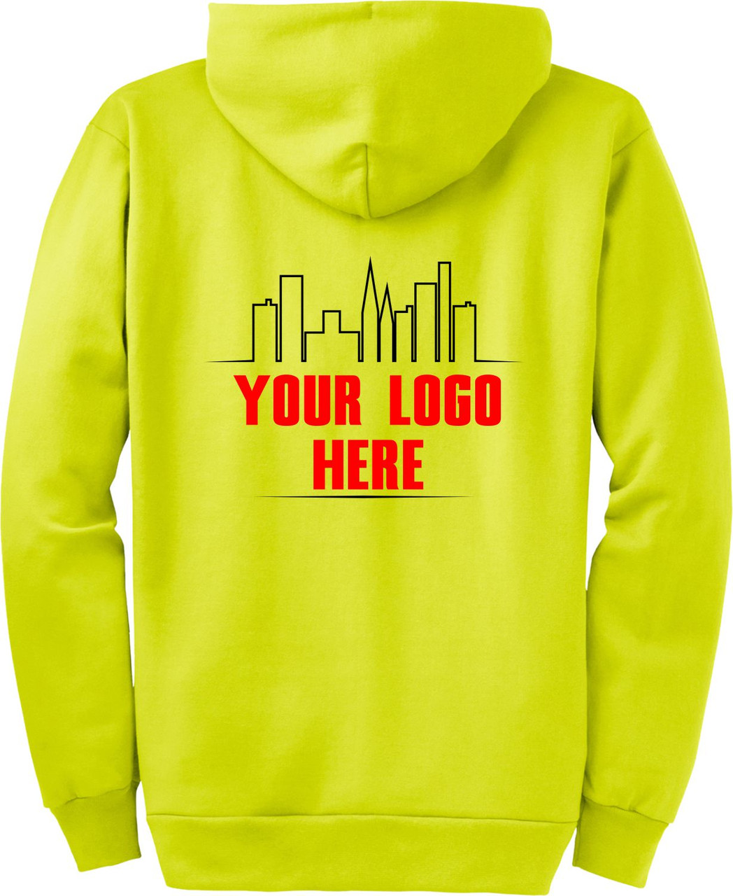 Safety Green High Visibility Hooded Sweatshirt with Printed Logo.  Ask about our Custom Printed Safety Green Zipup Hoodies.