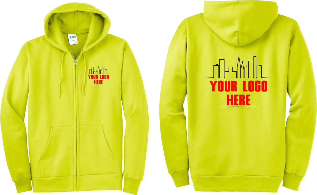 Custom Printed Logo on Hi Vis Safety Green Zip Up Hoodies.  Safety Imprints can print your logo on Jackets, Hoodies, and Hi Vis Apparel.