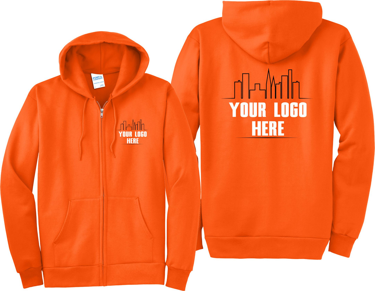 Custom Printed Logo on Hi Vis Safety Orange Zip Up Hoodies.  Safety Imprints can print your logo on Jackets, Hoodies, and Hi Vis Apparel.