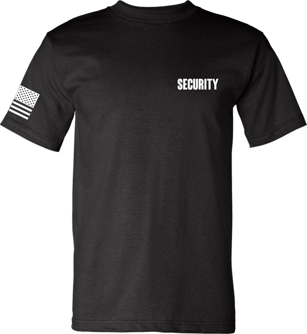 Made in the USA Black Security T Shirt with American Flag on Right Arm