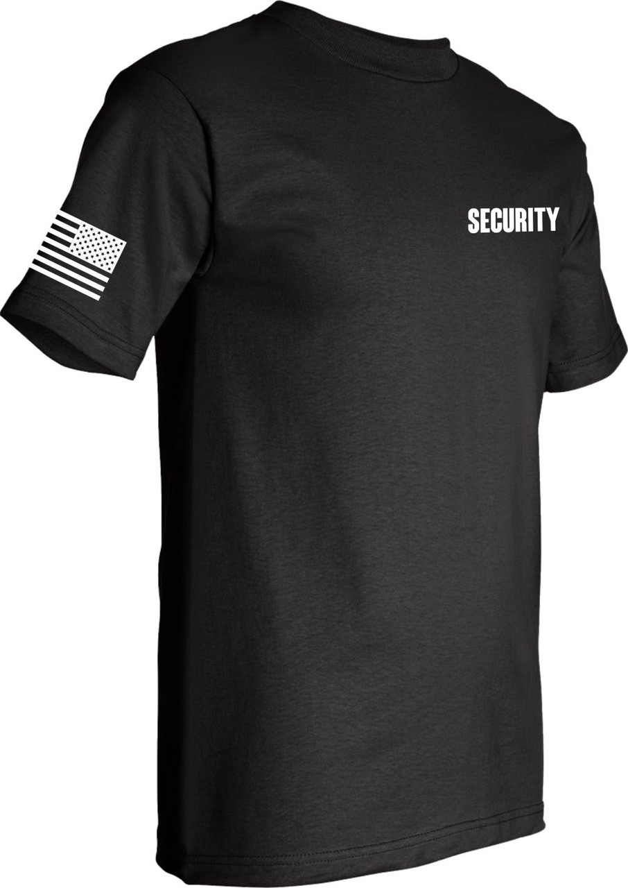 Black Short Sleeve Security TShirt with USA Flag on arm Made in America