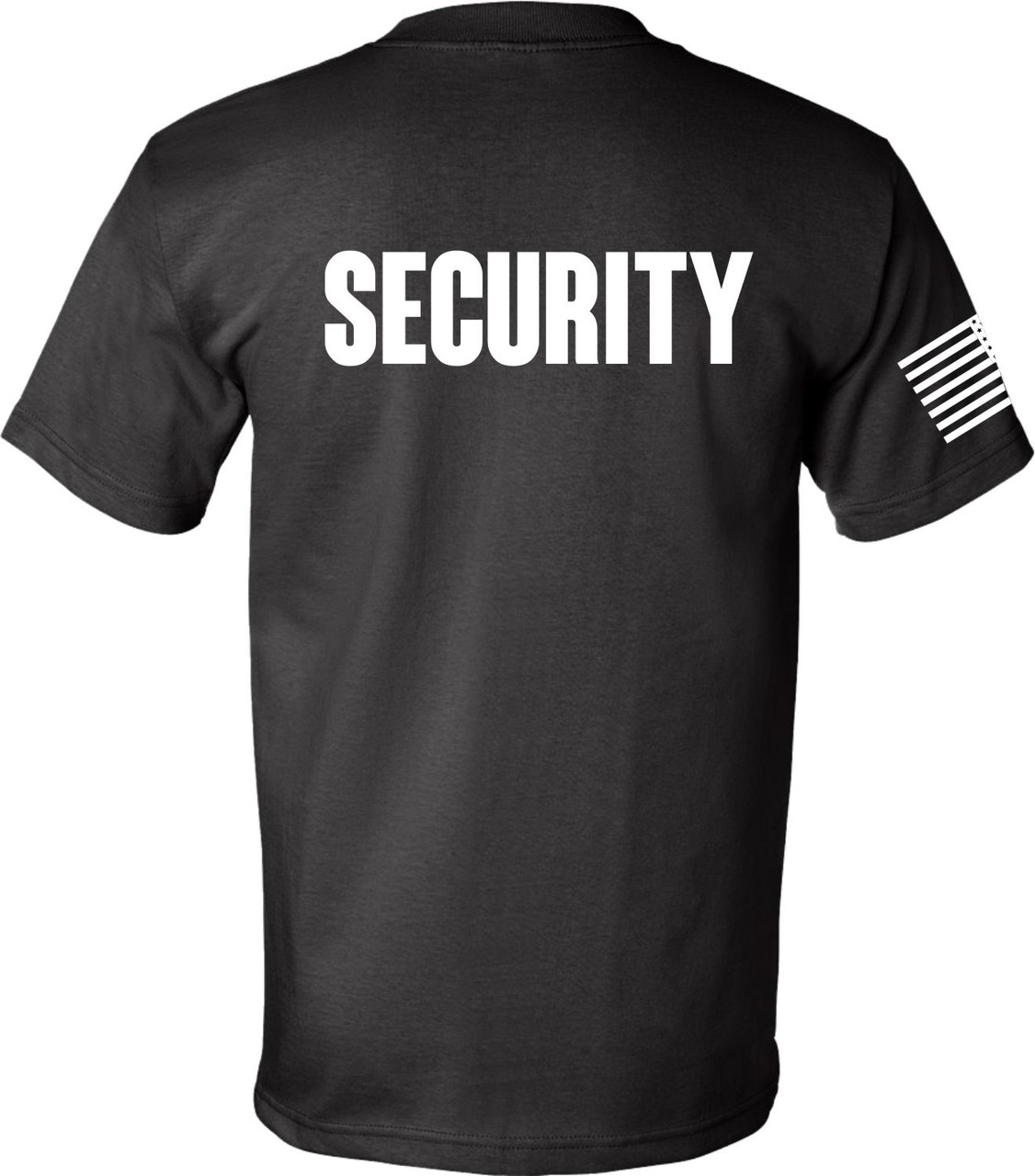 Black Security Tee with USA Flag made in America