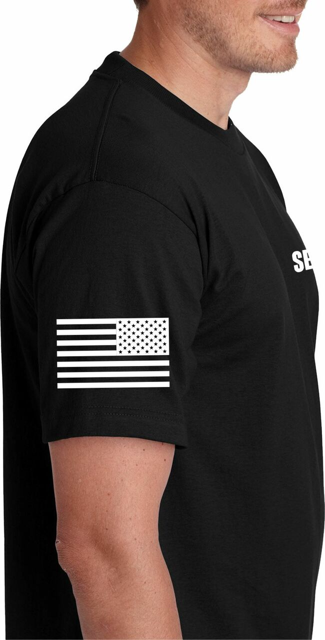 USA Flag Security T Shirt on right sleeve.  This Security Tee is proudly made in the USA.