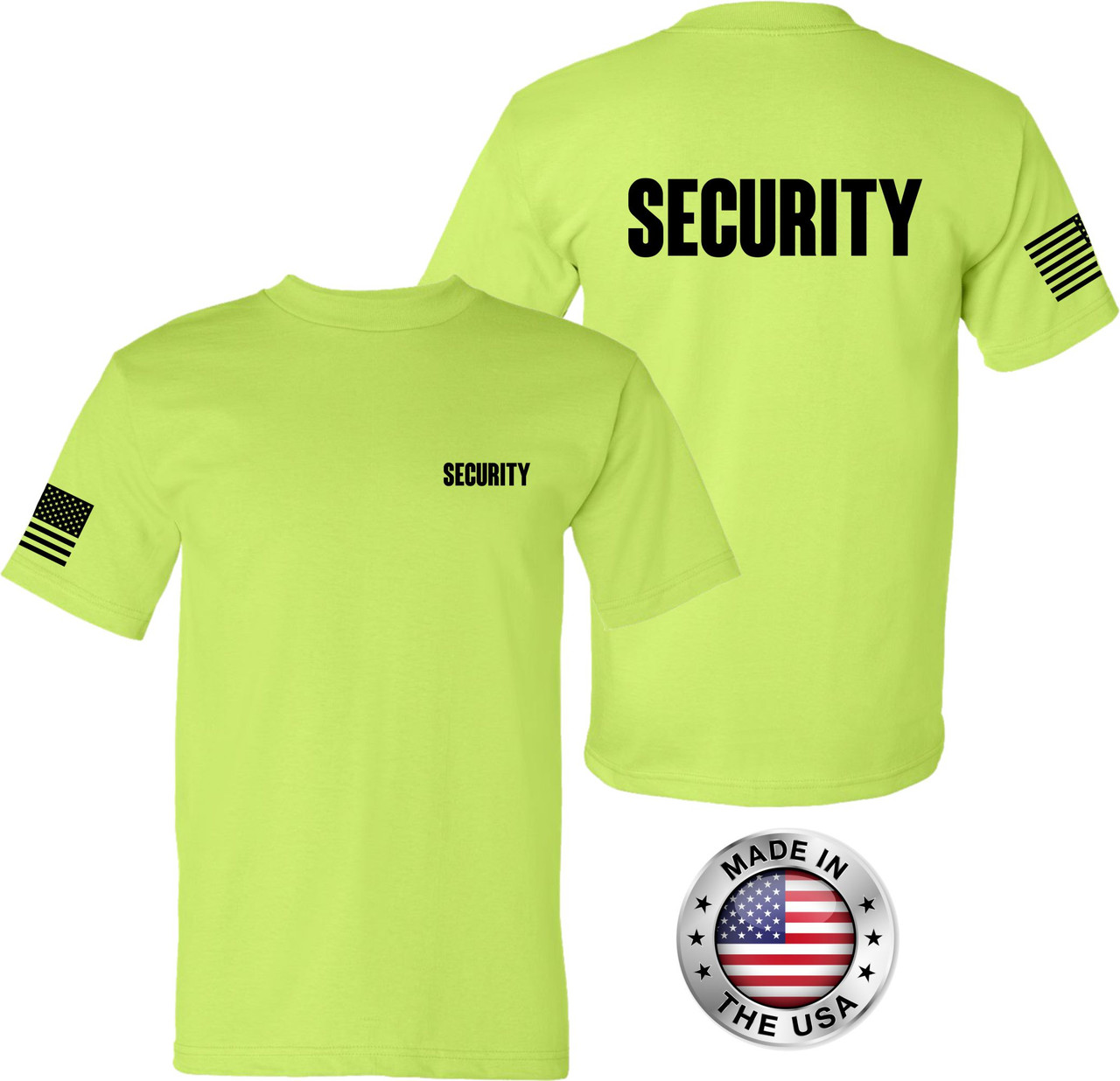 USA Made Safety Green Security Tee with American Flag on sleeve.