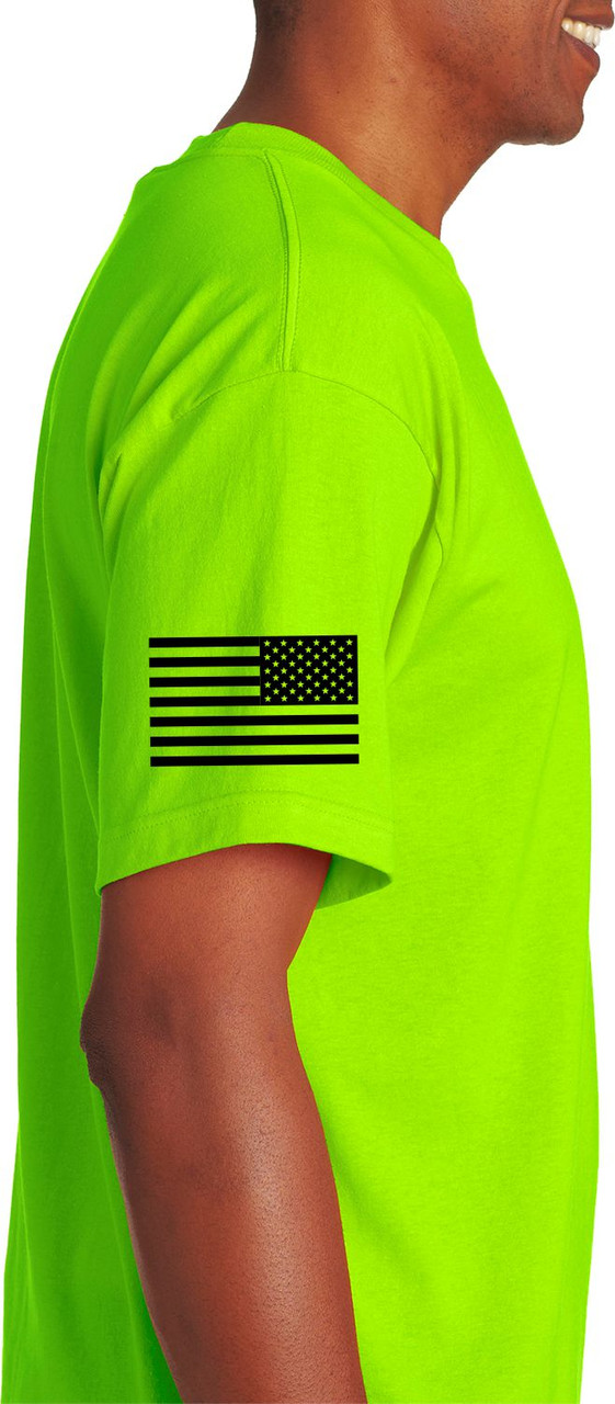 Lime Green Safety Security Shirt with Flag