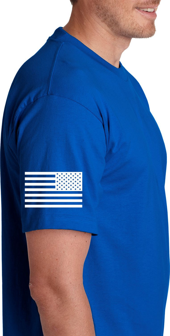 Security with Flag Printed on Royal Blue T-Shirt