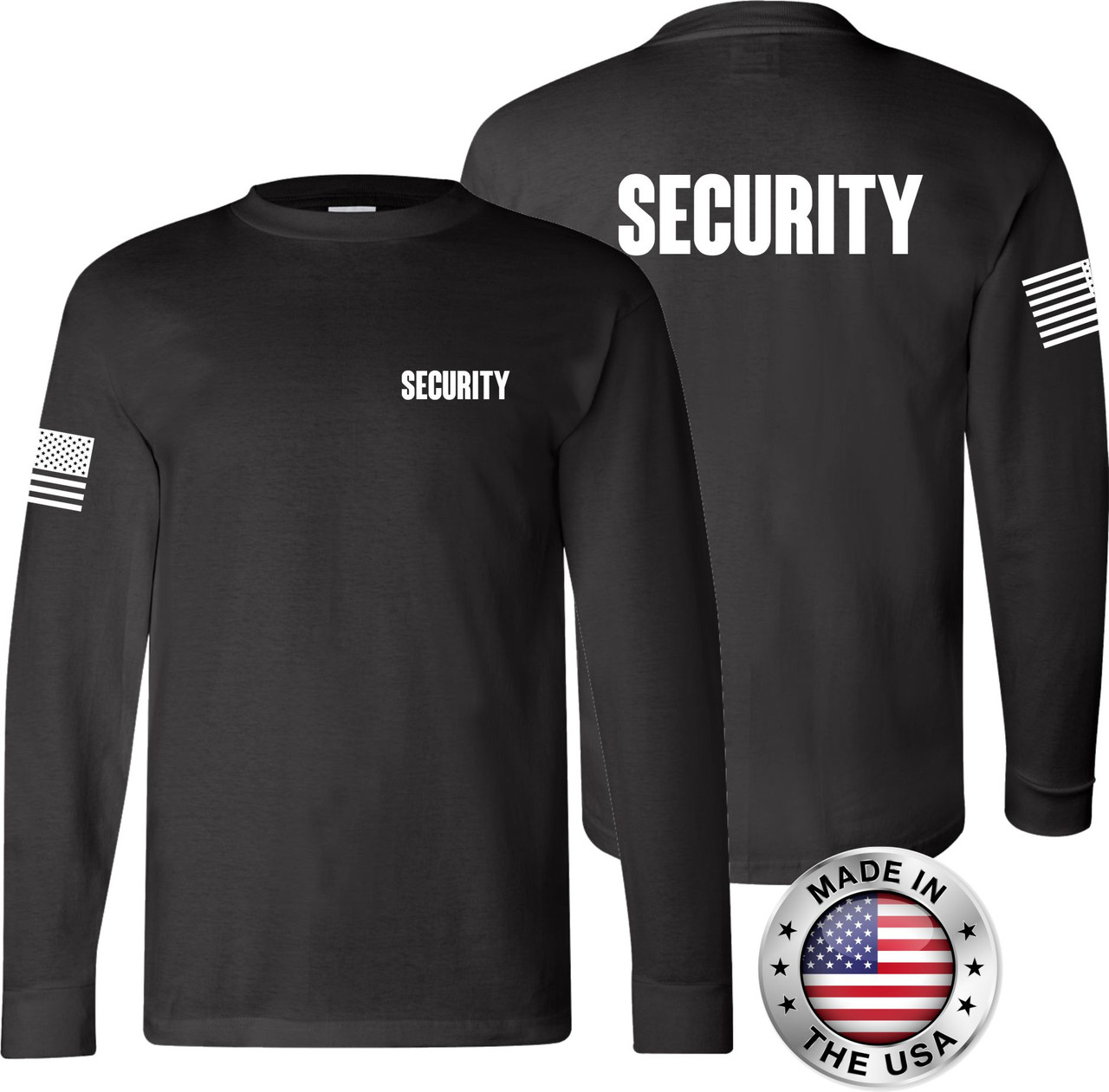 Black Long Sleeve Security T Shirt made in the USA.
