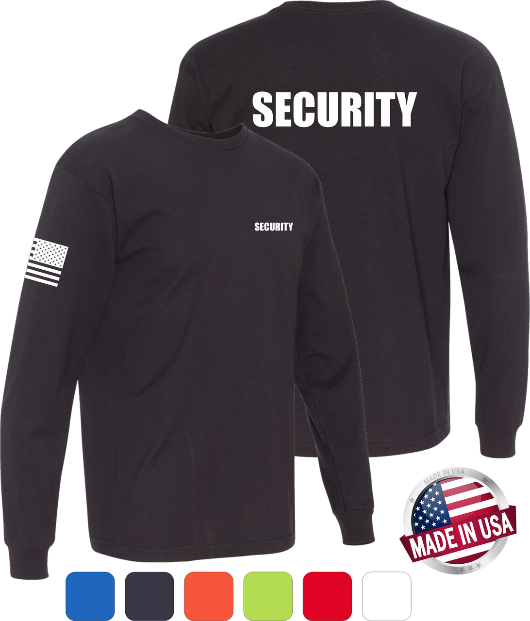 Black Long Sleeve Security T Shirt made in the USA with America Flag