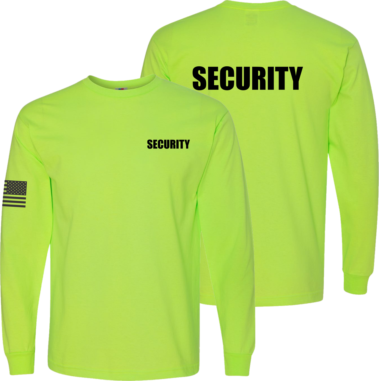 Safety Green Long Sleeve Security T Shirt made in the USA.