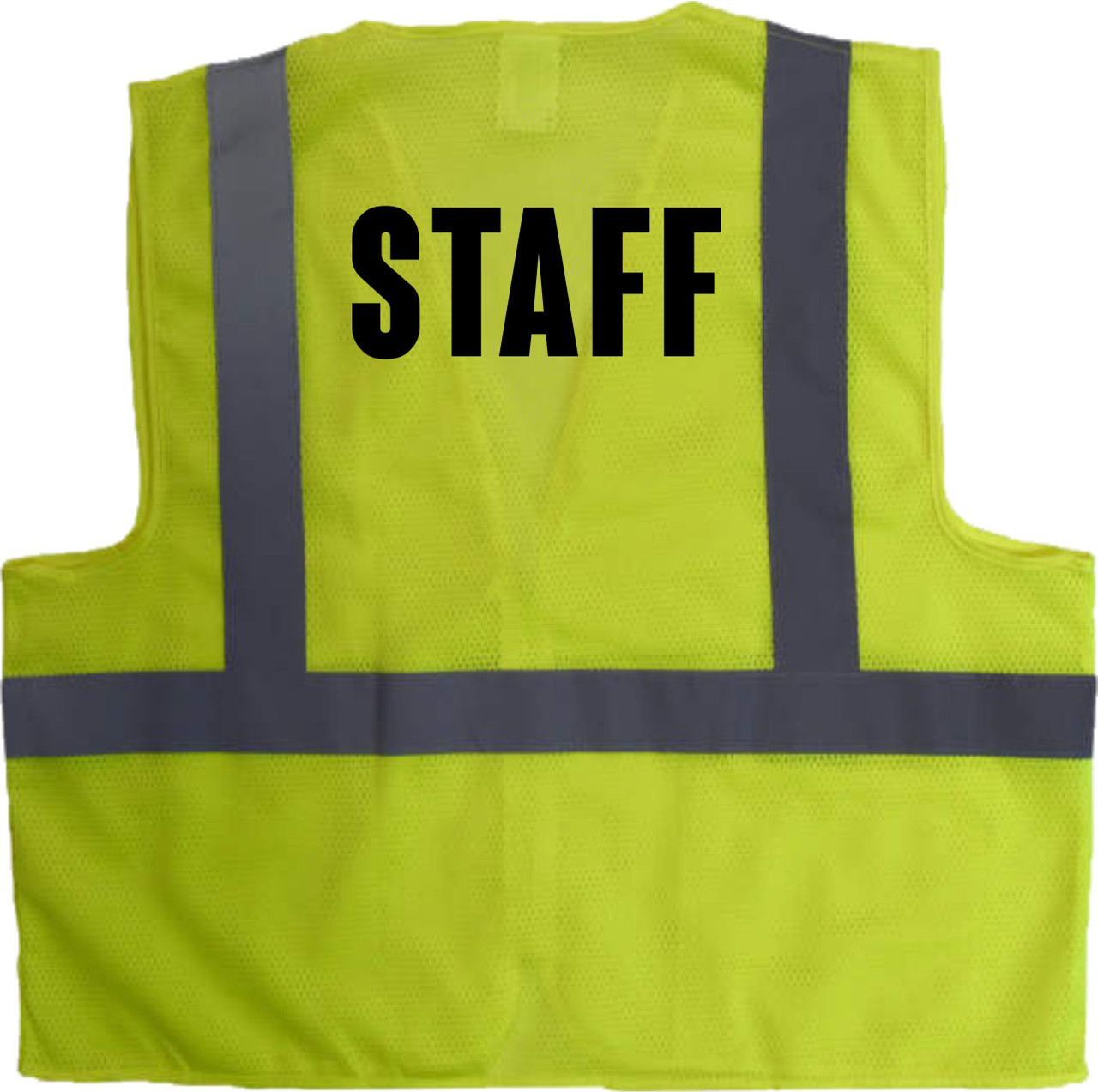 Great way to give added visibility to help your STAFF stand out.  This class 2 Safety Vest has STAFF printed boldly on the front and the back.