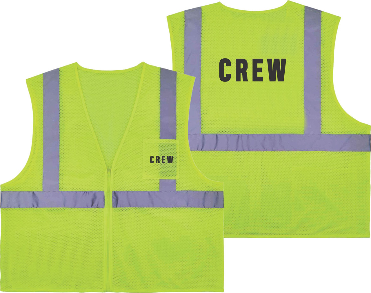 Printed CREW Safety Vest Class 2 - Great for Hi Vis Vest for Events
