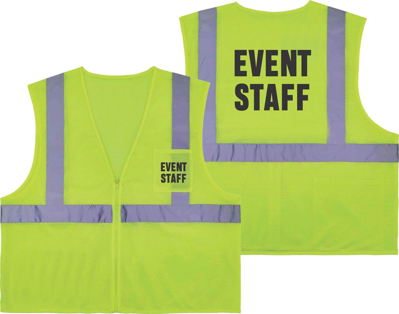 Printed EVENT STAFF Safety Vest Class 2 - Great for Hi Vis Vest for Events